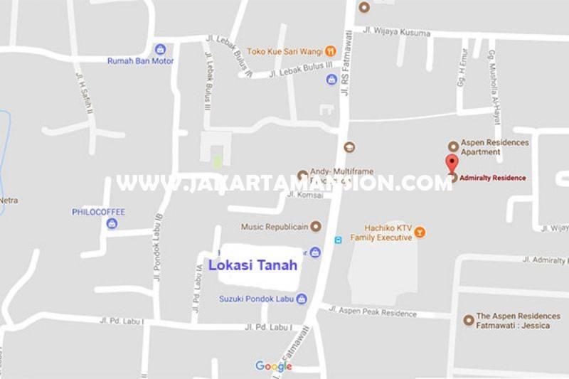 LS853 Tanah Jalan Fatmawati Pondok Labu 1 luas 5.389m dijual murah 18juta/m depan Mall One Bel Park