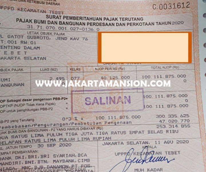 CS1415 Tanah Komersial Jalan Gatot Subroto Pancoran Dijual murah 60juta/m Bisa untuk Gedung Kantor 24 lantai