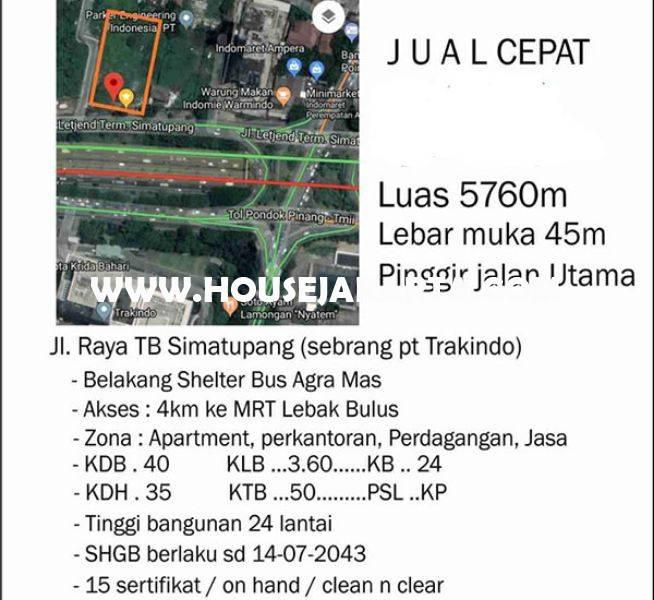 LS1494 Tanah Komersial Jalan TB Simatupang Dijual Murah Seberang Gedung Trakindo ijin bisa 24 Lantai