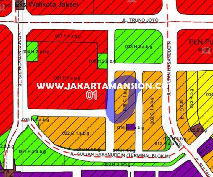 LS768 Dijual tanah Jalan Faletehan Blok M Kebayoran Baru luas 960m bisa dibangun 6 lantai
